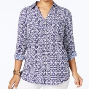 Charter Club Womens Top Button Down Utility Shirt